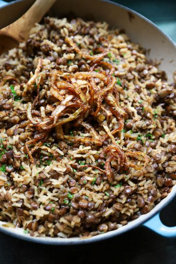 Mujaddara, arroz con lentejas